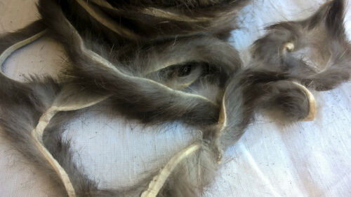 Peau fourrure Lapin montage mouche pêche Rabbit Fly Gris//Marron Fonce 4//5mm x 1m