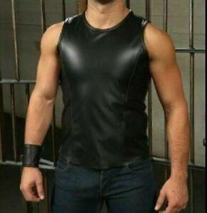 Para-hombre-de-cuero-negro-ajustado-sin-mangas-Camisa-Sport-Camiseta-sin-mangas-Camiseta-Fetiche