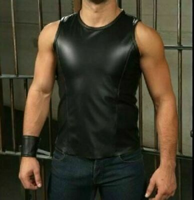 Men/'s BLACK Real Leather Sports Tank Top Vest Shirt Sleeveless Fitted Fetish