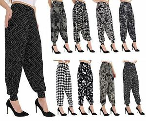 b08eb3054dd0 Ladies Plus Size Printed Harem Pants Cuffed Bottom Ali Baba Womens ...