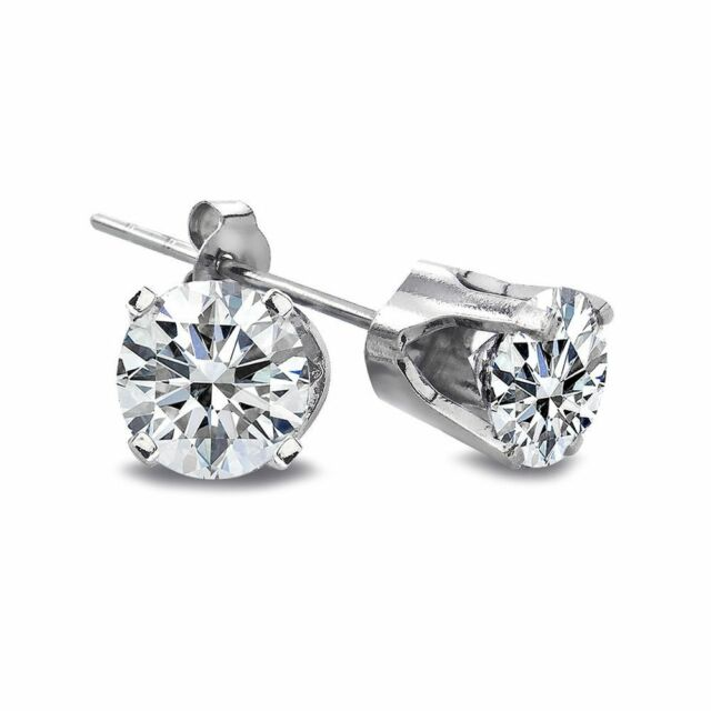 14K White Gold 1/4 Ct Round Diamond Stud Earrings (H-I, I2-I3)