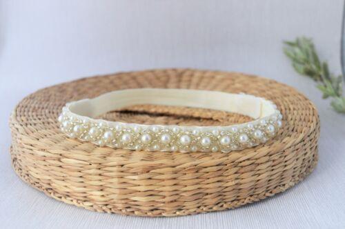 rhinestone tiara headband for christening baptism Handmade Baby pearl hair band
