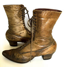 Antique Victorian Boots Steampunk Brown High Top Lace-Up Leather Ladies