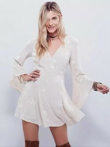 Image Is Loading Free People Nwt Jasmine Embroidered Dress Almond Combo