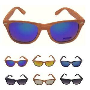 93f7bca211 Dettagli su occhiali da sole uomo donna effetto legno vintage wood specchio  surf quadrati mo