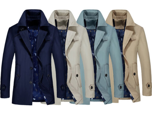 Mens Outerwear Business Jacket Coat Windbreaker Jackets Trench Oversize H01