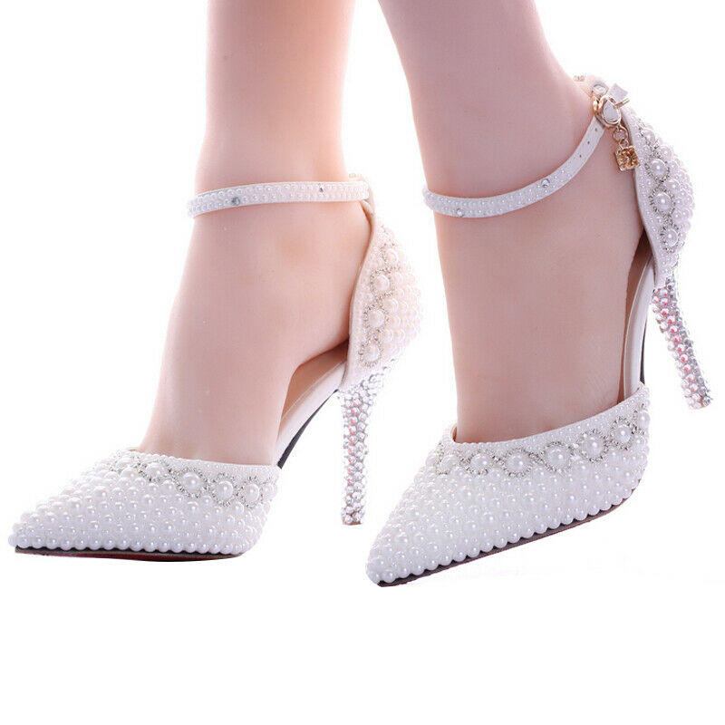 New Bride Wedding scarpe High Heels Rhinestones donna bianca Pearl Strap scarpe SZ