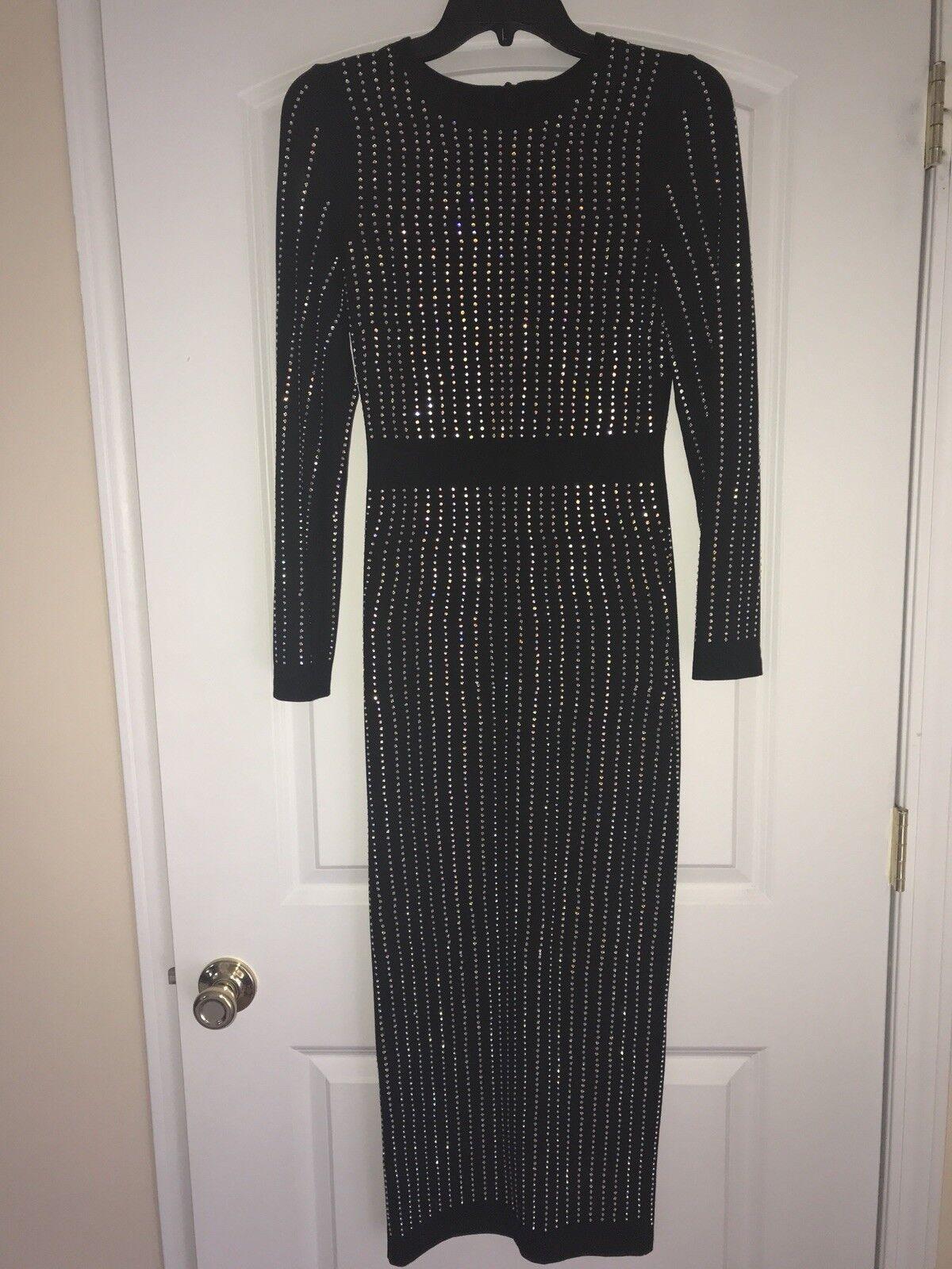 schwarz Rhinestone Embellished Evening Dress