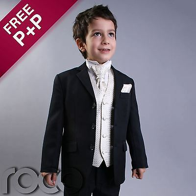 BOYS 4 PIECE WEDDING PAGEBOY CRAVAT NAVY SUIT 1-15YRS