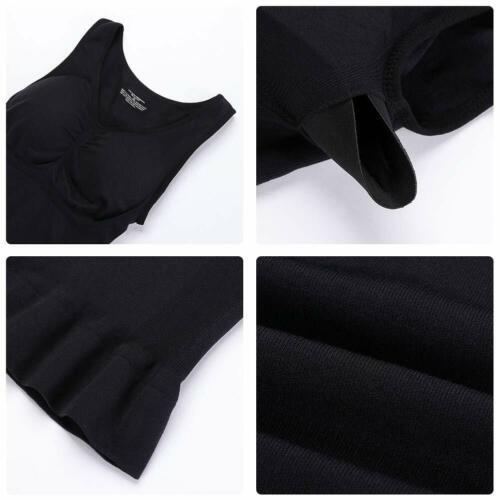 Camisole Body Shaper Built In Bra Shapewear Top Tummy Control Wide Strap Vest US