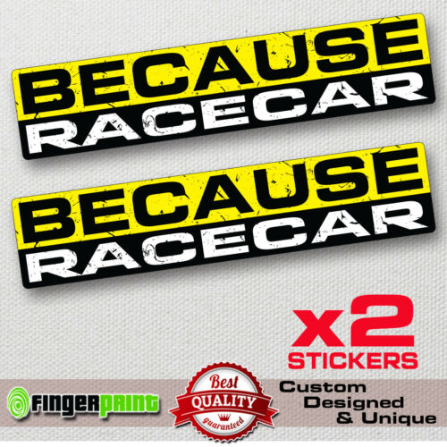 BECAUSE RACECAR sticker decal vinyl jdm funny bumper car humor window drift EVO