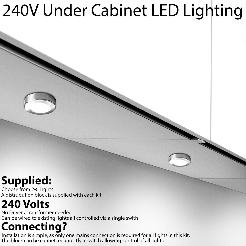 LED Kitchen Cabinet Spotlights - 240V - WARM Weiß Surface Flush Mount Light Kit