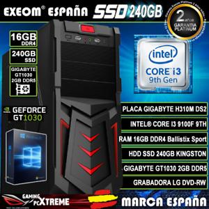 Ordenador-Gaming-Pc-Intel-I3-9100F-16GB-DDR4-SSD240GB-GigabyteGT1030-2GB-Windows