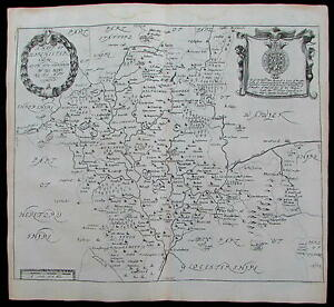 Worcestershire England Britain U.K. old cities towns 1673 Blome old antique map