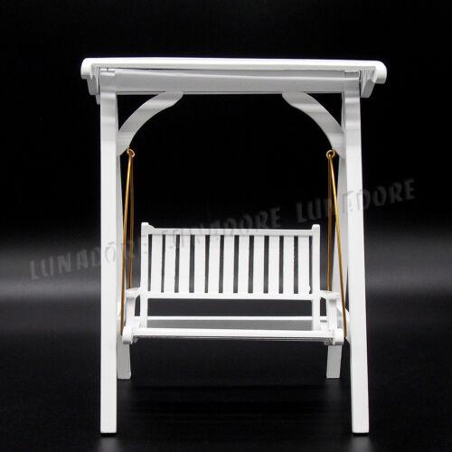 Dollhouse White Wood Swing Armed Chair Garden Yard Furniture  Miniature Decor