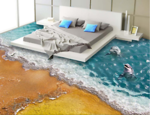 3D delfines de Arena Papel Pintado Mural Parojo Impresión de suelo 65 5D AJ Wallpaper Reino Unido Limón
