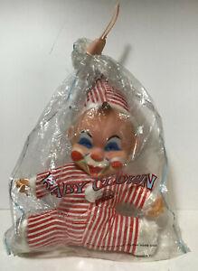 Vtg-60-039-s-MEGO-Clown-Rubber-Face-Stuffed-Plush-Toy-Doll-MINT-IN-PKG-Hong-Kong