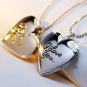 XMAS-GIFTS-FOR-HER-Black-Friday-Rose-Gold-amp-Silver-Locket-Heart-Necklaces-Wife