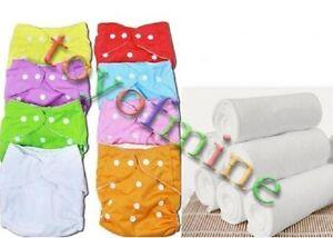 Réutilisables en tissu lavable Couches bébé Nappy Covers + inserts de coton