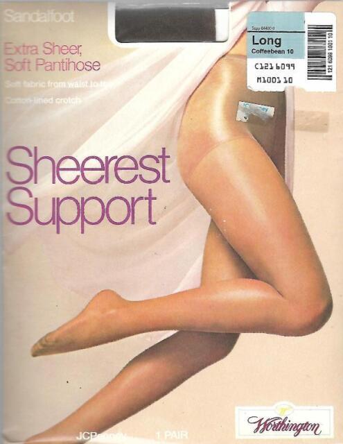Worthington Extra Sheer Soft Pantyhose Long Coffeebean 10 Sandalfoot