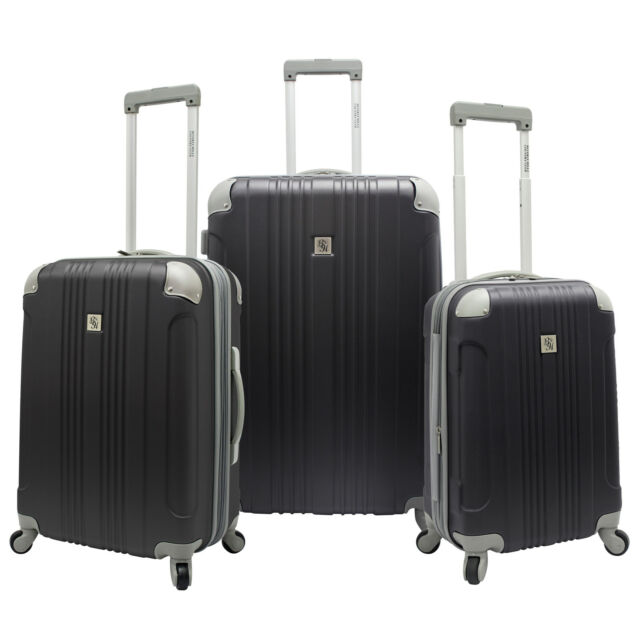 Beverly Hills Country Club 3pc Malibu Newport Gray Spinner Suitcase Luggage Set