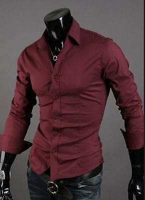 New Fashion Men's Males Stylish Luxury Dress Shirts Casual Slim Fit Long Sleeve