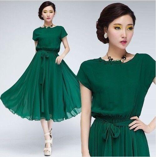 Fashion Women Vogue Chiffon Party Ball Gown Evening Long Casual Dress Belt