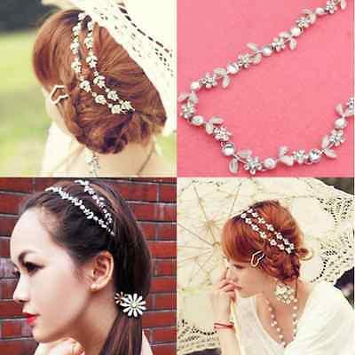 Lady Elastic Fashion Metal Rhinestone Head Chain Jewelry Headband Head Hair band