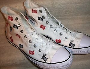 Converse-153823C-CTAS-Hi-White-w-Flags-Men-039-s-Size-10-Women-039-s-Size-12