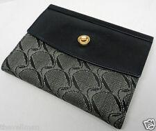 Womens Ladies Movado Watch Company Italian Made Black Gray Wallet ID Holder