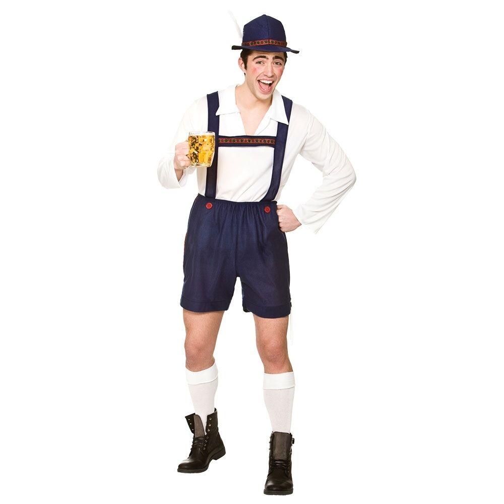 Birra Bavarese Uomo-Men /'s Fancy Dress Costume Tedesco con Cappello Camicia Lederhosen