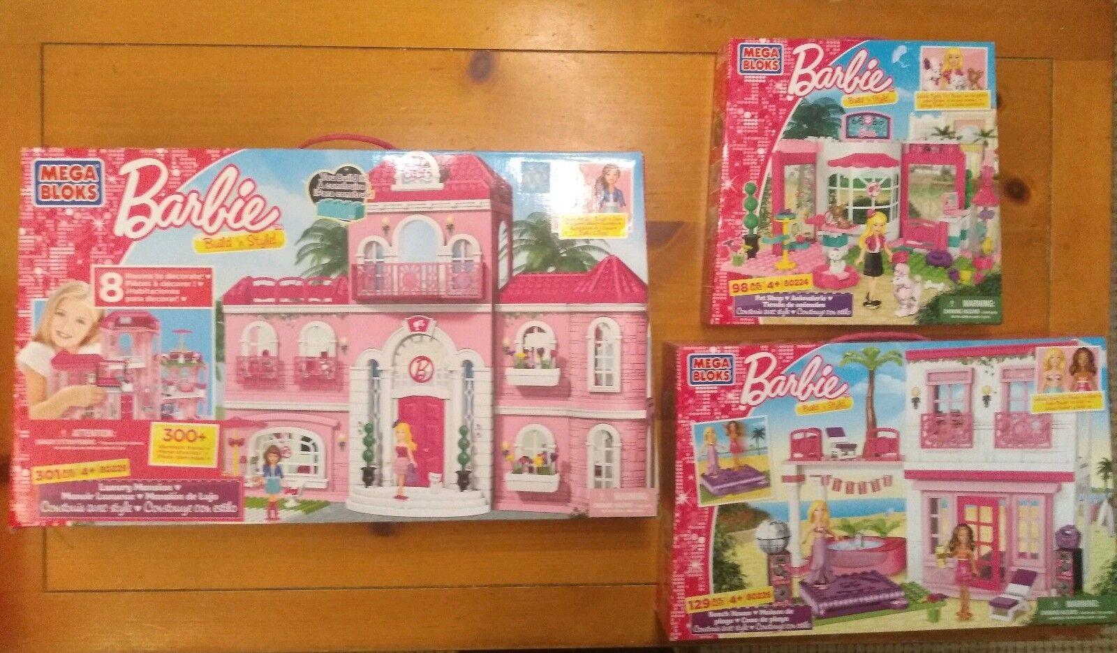 Nuevo Mega Bloks Barbie mansión de lujo 80229 Casa De Playa 80226 Pet Shop 80224 Rara