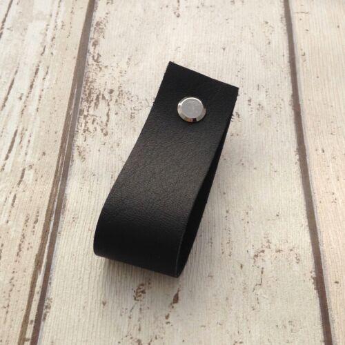 Leather Minimalist Drawer Pull Door Handles Dresser Cabinet Cupboard Pulls Brown