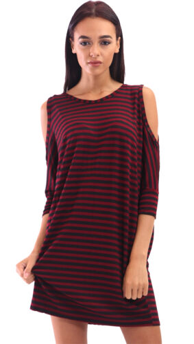 Womens Cheap Oversized Plain Cold Shoulder Cut Out Striped Loose Top Tunic Dress