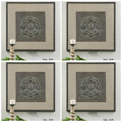 "FOUR NEW 32"" BRONZE STAMPED METAL WALL ART PLAQUE STAINED BURLAP MATTING"