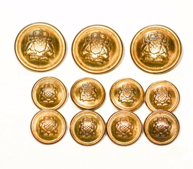 Vintage RALPH LAUREN Buttons Brass Gold Shank Coat of Arms Crest Lot  RL6