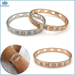 Bracciale da donna rigido a manetta con scritta amore acciaio braccialetto cuore