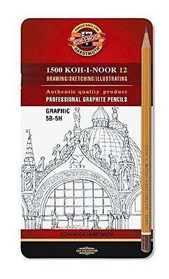 Koh-I-Noor 1502//111 Graphic Medium Grades Drawing Pencils Tin 5B-5H Set of 12