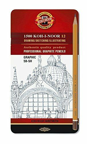 Set of 12 Koh-I-Noor 1502//111 Graphic Medium Grades Drawing Pencils Tin 5B-5H
