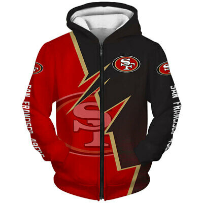 49ERs Printed Casual UNsex thin Sport Hoodie long sleeve Pocket Coat S-5XL