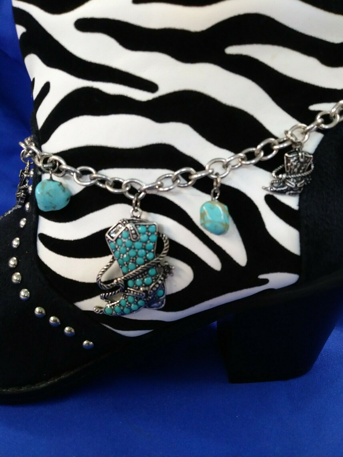 WESTERN BOOT JEWELRY - TURQUOISE/SILVER BOOT