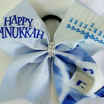 Cheer Bow - Happy Hanukkah Glitter   - Hair Bows
