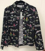 Keren Hart Multicolored/black Button Up Long Sleeve Jacket Size Large