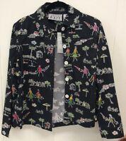 Keren Hart Multicolored/black Button Up Long Sleeve Jacket Size Large
