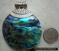 Paua Abalone Shell Round Pendant Bali Handmade Sterling Silver Hinged Bail Fj071