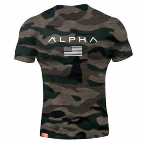 Alpha-Men-039-s-Gym-T-Shirt-Bodybuilding-Fitness-Training-Workout-Muscle-Top-New-Tee