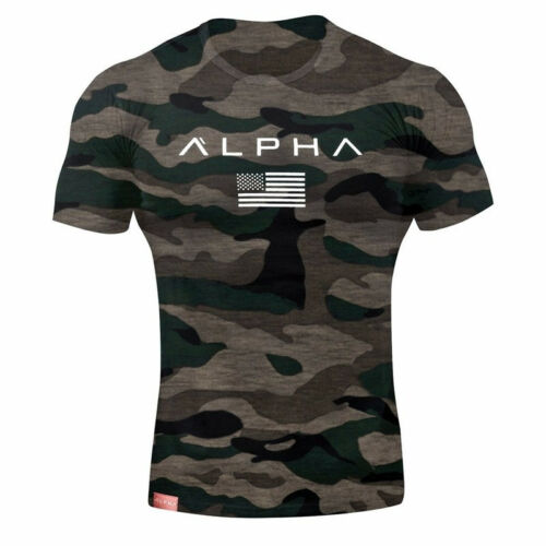 Alpha Men/'s Gym T-Shirt Bodybuilding Fitness Training Workout Muscle Top New Tee