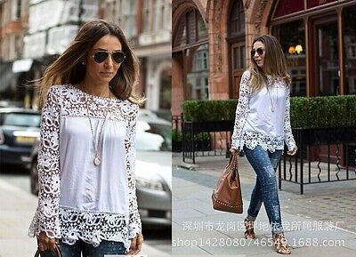 Fashion Women Hollow Lace Crochet Flower Blouse Long Sleeve T-Shirt Ladies Tops