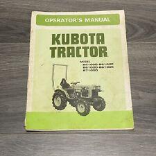 Kubota Tractor Operators Manual Model B5100d B6100d B7100d B5100e B6100e