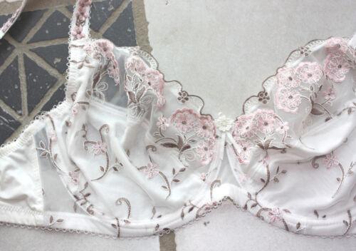 NUOVO elegante bestickter STAFFA reggiseno tulle punta 90 100 e Petite FLEUR CREMA Rosé 890466